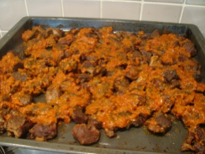 Grilled goat meat coated in stew base