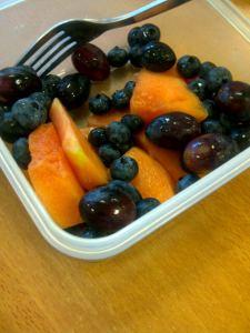 Fruit for breakfast at my desk