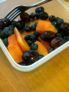Fruit for breakfast at my desk