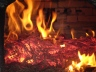 Wonderful burnt orange fire in the wood burning oven