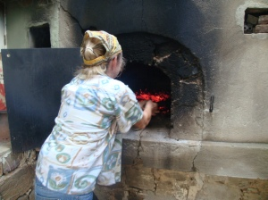 Traditional wood fire oven at gas mark....