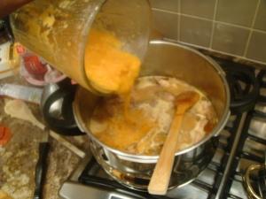 Add blended veg to soup