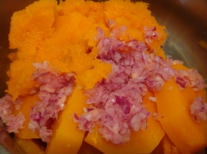 Add onions and ginger to squash