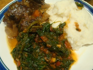 Sadza with oxtail
